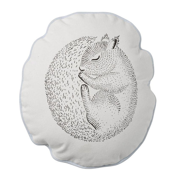 Cotton Pillow w/ Sleeping Squirrel, Sky Blue Trim