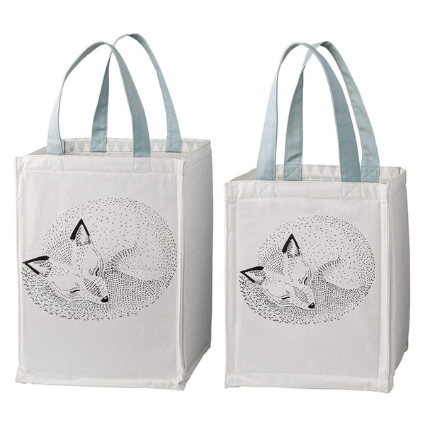 Sleeping Fox Storage Bags with Blue Handles