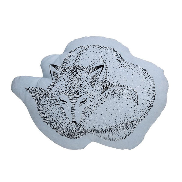 Cotton Pillow w/ Sleeping Fox, Blue