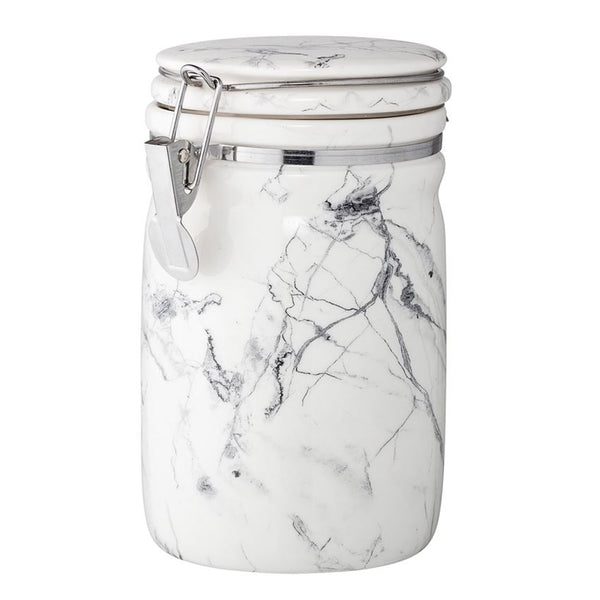 Porcelain Canister w/ Stainless Steel Clasp, Marbled White & Grey
