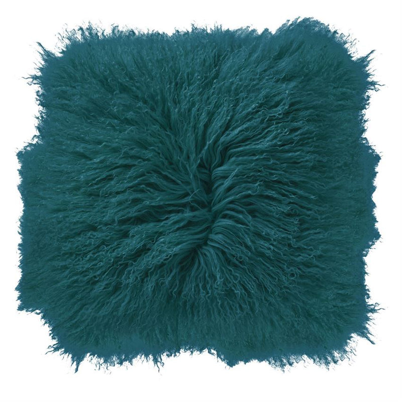 Mongolian Lamb Fur Pillow, Dark Teal
