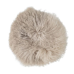 Dip Dye Stone/Off White Round Tibetan Lamb Fur Pillow