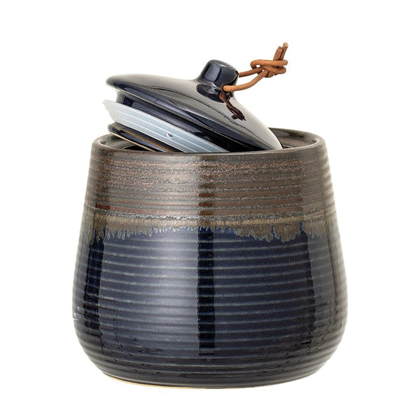 Stoneware Jar w/ Lid & Leather Tie, Blue