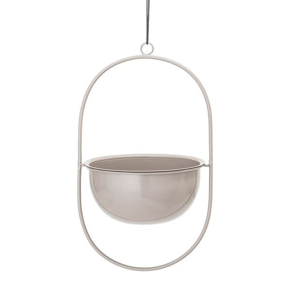 Hanging Enameled Planter, Grey