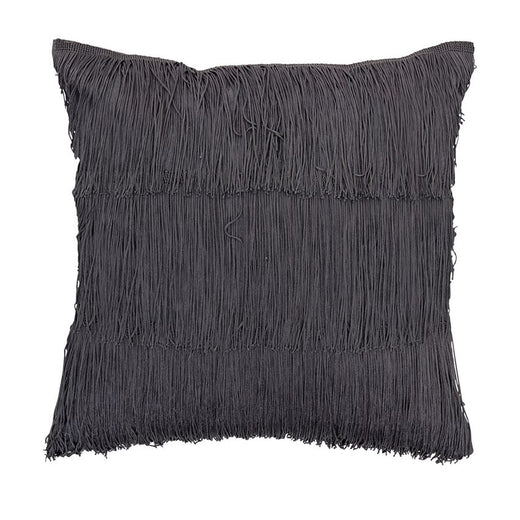 Cotton Fringe Pillow, Grey