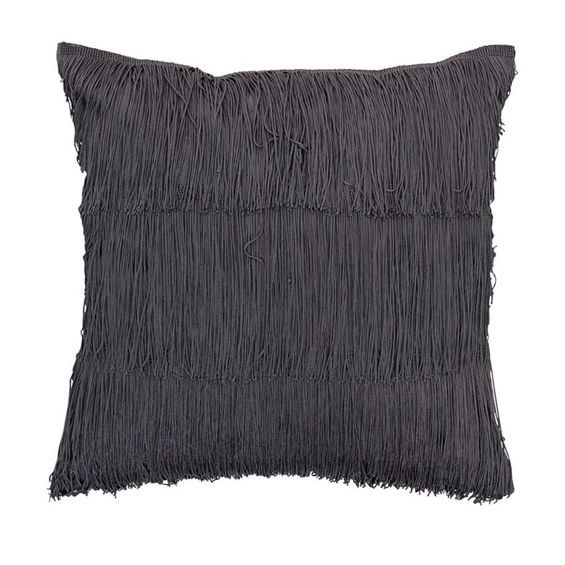Scandi Chic Fringe Pillow, Dark Grey