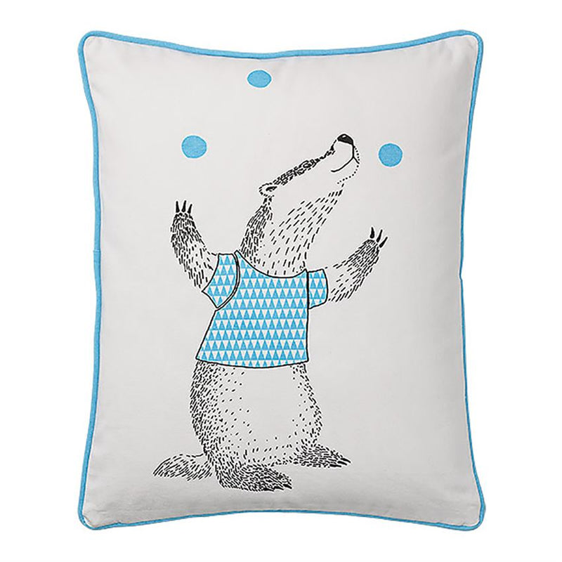 Juggling Badger Cotton Pillow
