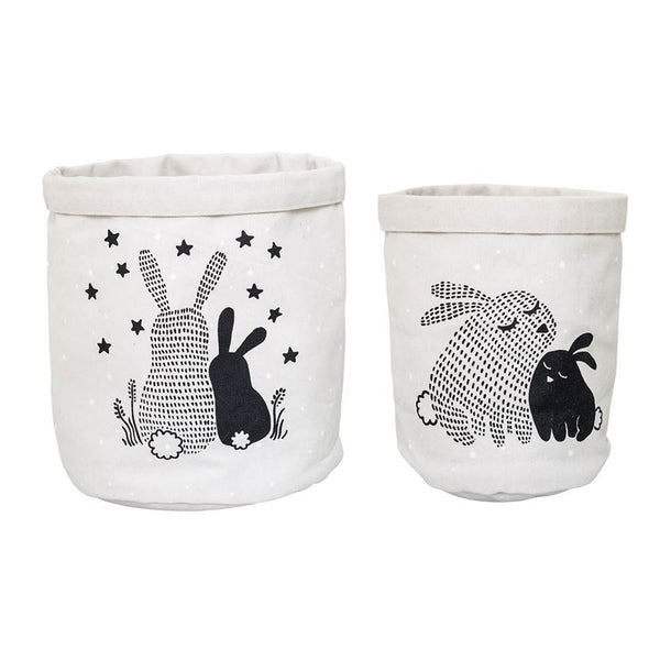 Storage Baskets w/ Bunnies in Rose - Set of 2