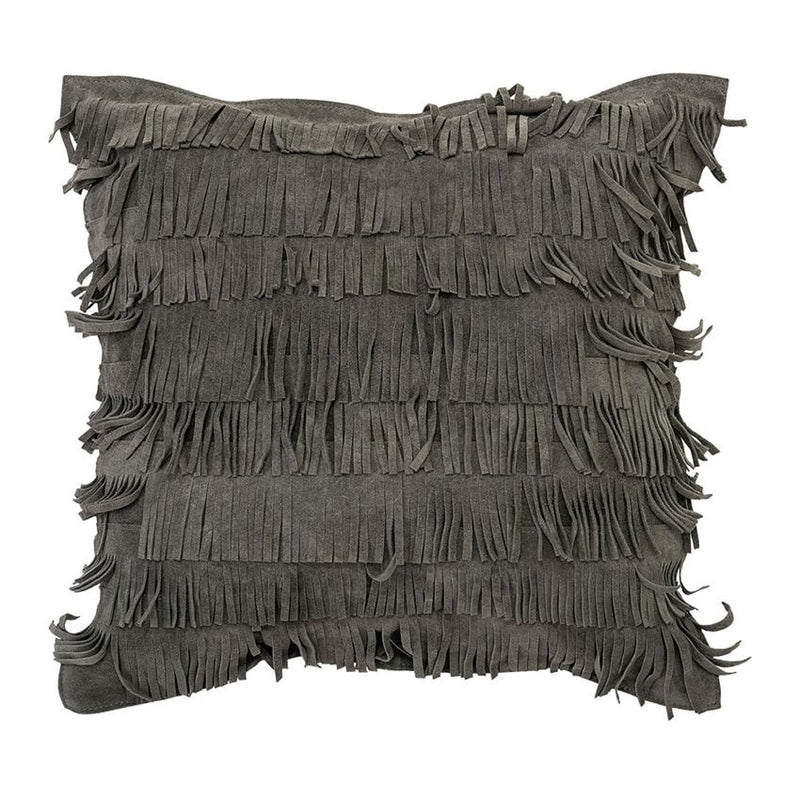 Square Cotton Pillow w/ Suede Fringe