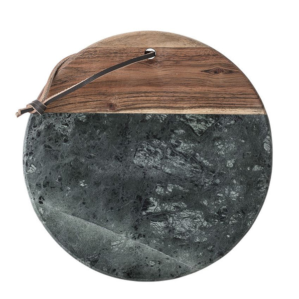 Marble & Acacia Wood Tray/Cutting Board w/ Leather Strap, Green