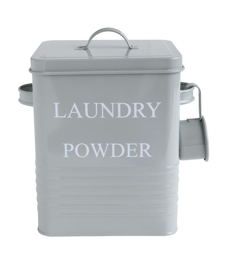 """Laundry Powder"" Metal Laundry Container, Grey"