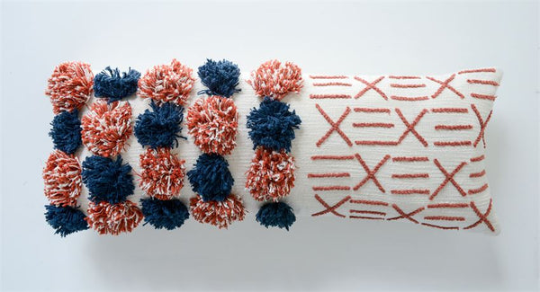 Cotton Lumbar Pillow w/ Pom Poms