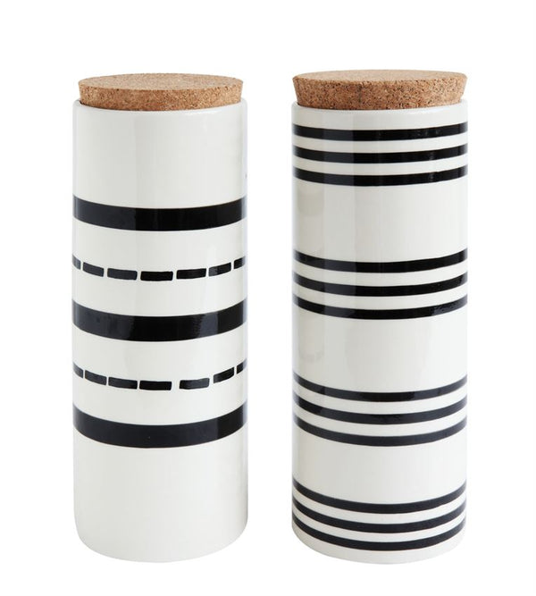 Stoneware Canister w/ Cork Lid & Black Stripe - 2 styles