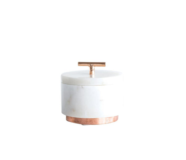 Marble Jar With Lid and Copper Handle and Base