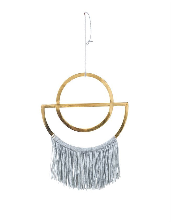 Metal Wall Decor w/ Grey Cotton Fringe, Brass Finish