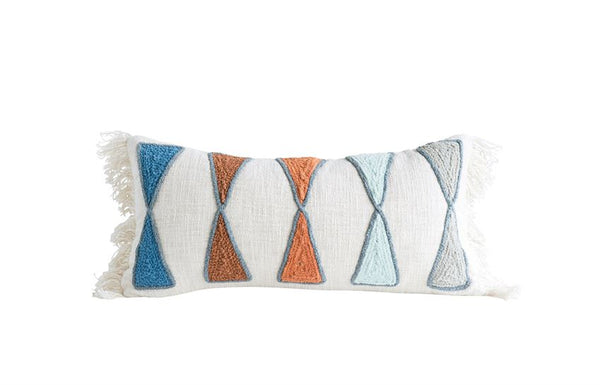Cotton Pillow w/ Embroidery & Fringe