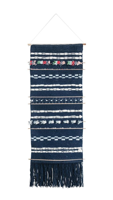 Wool & Cotton Woven Wall Hanging w/ Bamboo