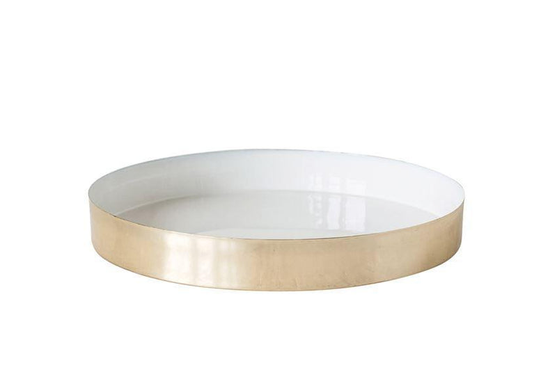 Large Round Enameled Tray in Brass and White
