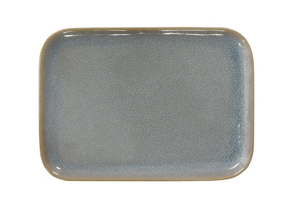 Stoneware Rectangle Platter, Blue Reactive Glaze