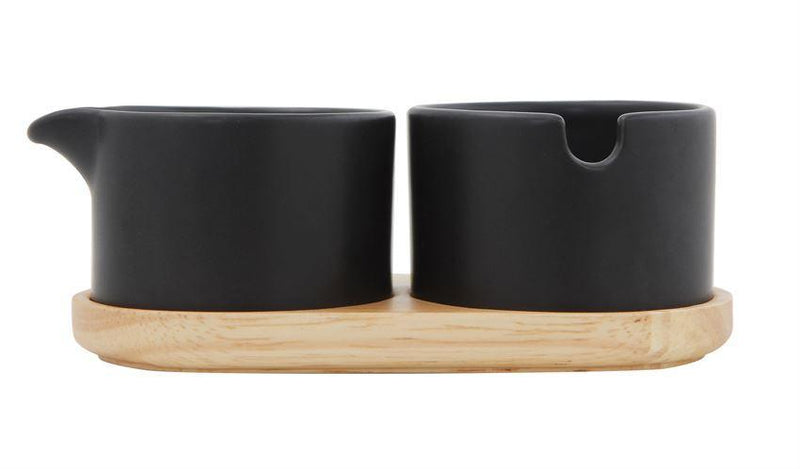 Stoneware Creamer & Sugar w/Wood Tray, Black