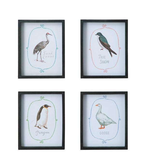 Wood Framed Wall Decor w/ Bird, 4 in a set