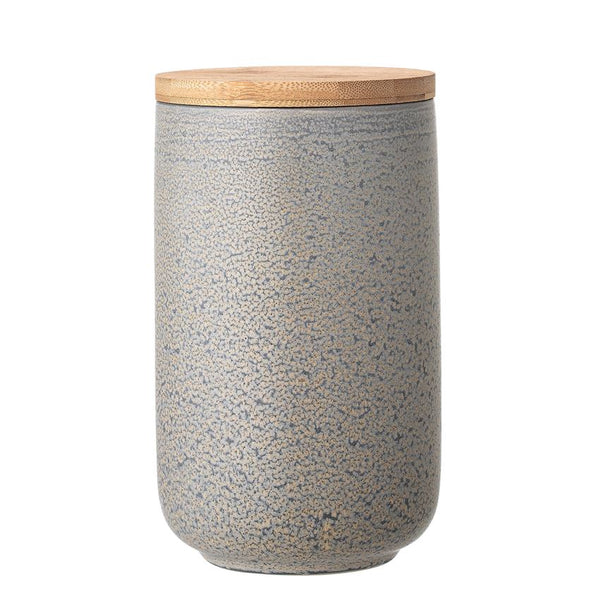 Tall Stoneware Canister w/ Bamboo Lid, Grey Matte Reactive Glaze