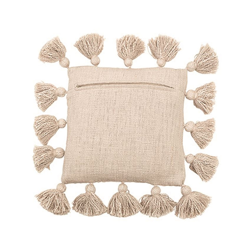 Cotton Pillow w/ Tassels, Cream Color