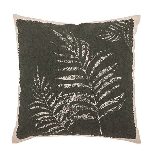 Cotton Printed Pillow w/ Frond, Green