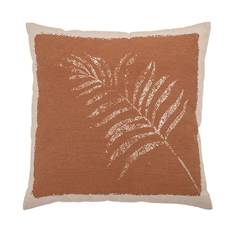 Cotton Printed Pillow w/ Frond, Terra-cotta