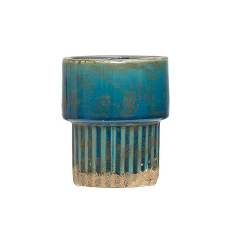 Terra-cotta Planter, Reactive Glaze, Teal
