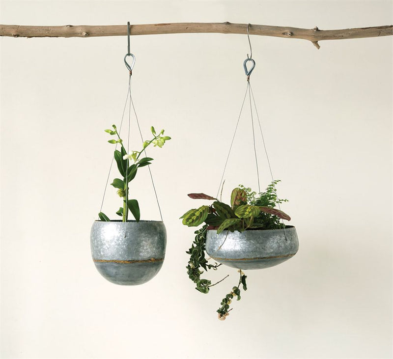 Galvanized Metal Hanging Planter - Round
