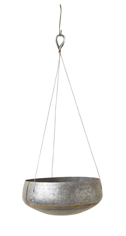 Galvanized Metal Hanging Planter - Oval