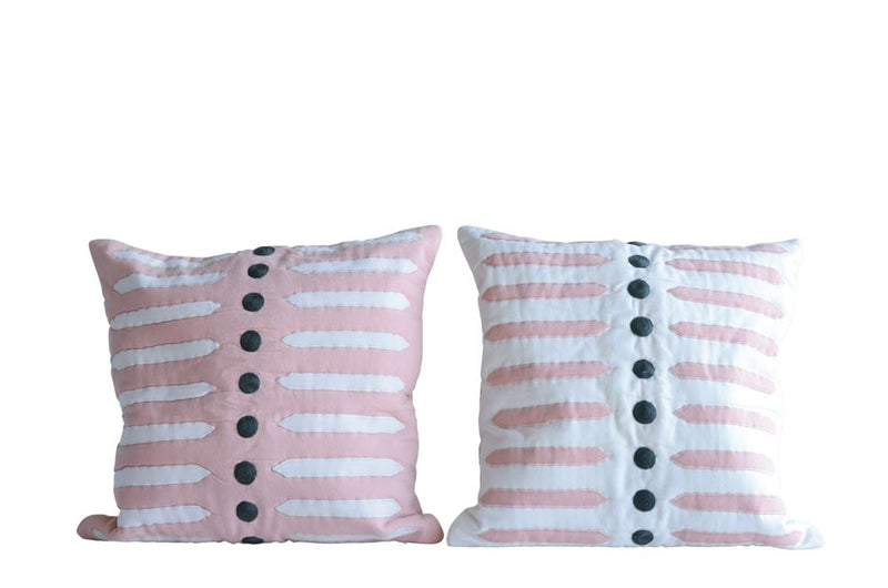 White and Pink Appliqued Pillows