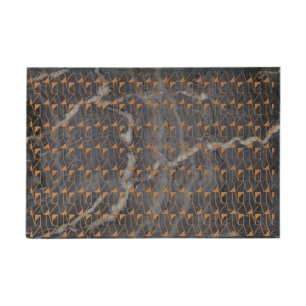 Grey Marble Cutting Board with Gold Pattern