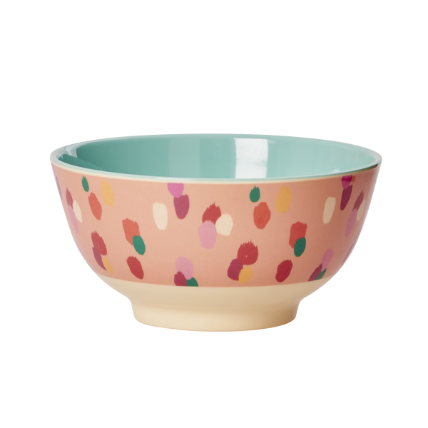 Melamine Bowl Two Tone with Coral Dapper Dot Print