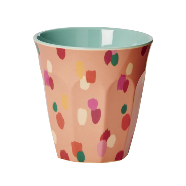 Melamine Medium Cup Two Tone with Coral Dapper Dot Print