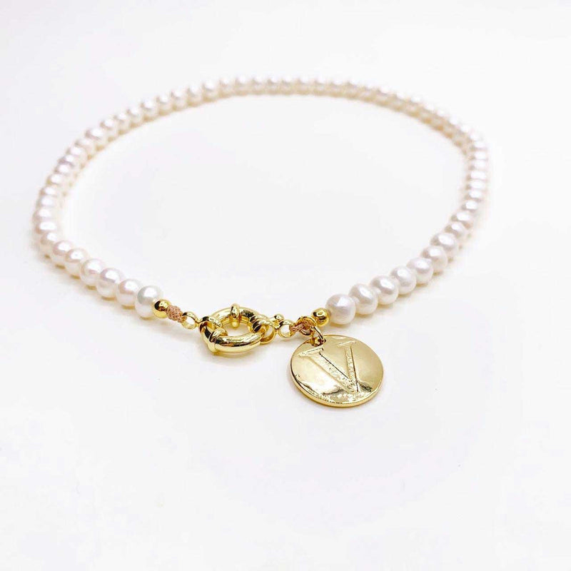 Fresh Water Pearl Trendy Initial Necklace
