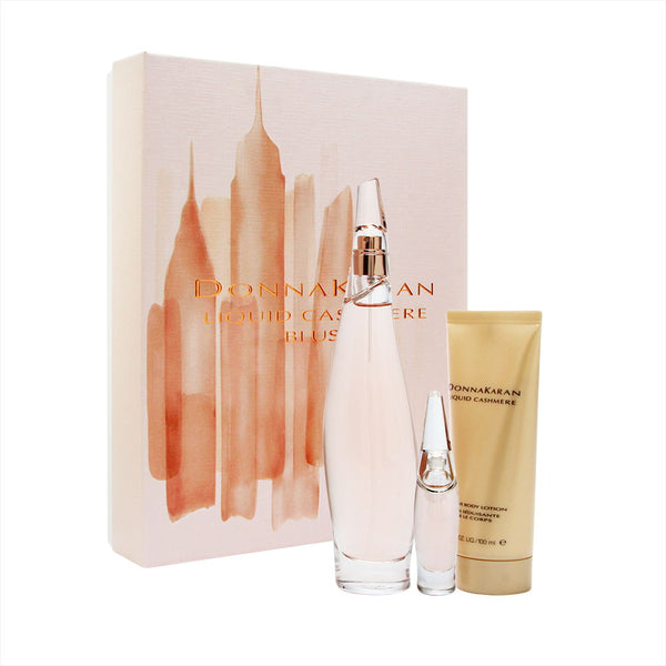 Donna Karan Liquid Cashmere Blush for Women 3 Piece Set Includes: 3.4 oz Eau de Parfum Spray + 3.4 oz Seductive Body Lotion + 0.24 oz Eau de Parfum Miniature