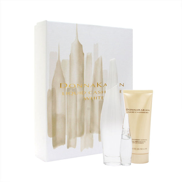 Donna Karan Liquid Cashmere White for Women 3 Piece Set Includes: 3.4 oz Eau de Parfum Spray + 3.4 oz Seductive Body Lotion + 0.24 oz Eau de Parfum Miniature