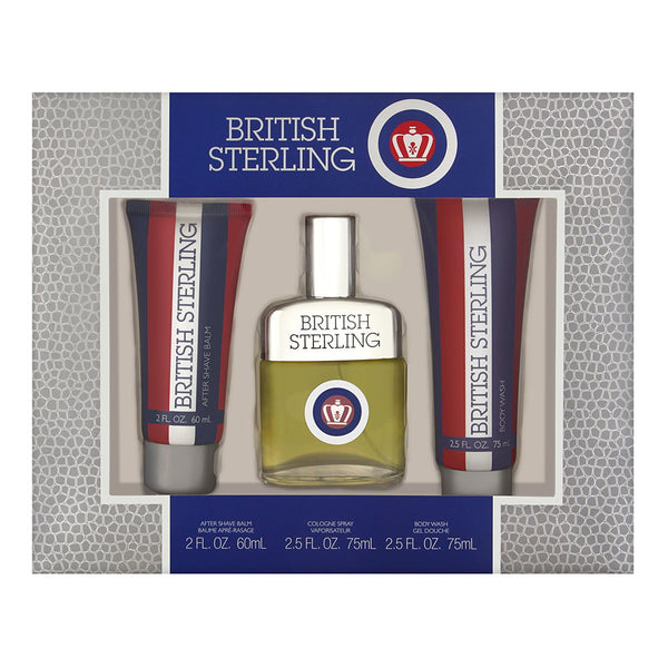 British Sterling by Dana for Men 3 Piece Set Includes: 2.5 oz Cologne Spray + 2.0 oz After Shave Balm + 2.5 oz Body Wash