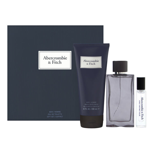 First Instinct Blue by Abercrombie & Fitch for Men 3 Piece Set Includes: 3.4 oz Eau de Toilette Spray + 0.5 oz Eau De Toilette Travel + 6.7 oz Hair & Body Wash