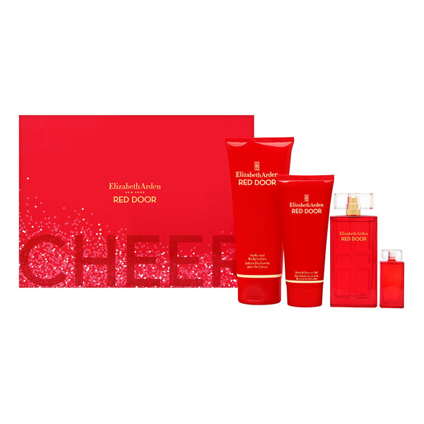 Red Door by Elizabeth Arden for Women 4 Piece Set Includes: 1.7 oz Eau de Parfum Spray + 0.16 oz Parfum + 6.8 oz Perfumed Body Lotion + 3.3 oz Bath & Shower Gel
