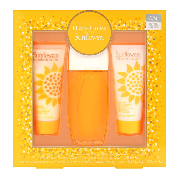 Sunflowers by Elizabeth Arden for Women 3 Piece Set Includes: 3.3 oz Eau de Toilette Spray + 3.3 oz Perfumed body Lotion + 3.3 oz Hydrating Cream Cleanser for the Body