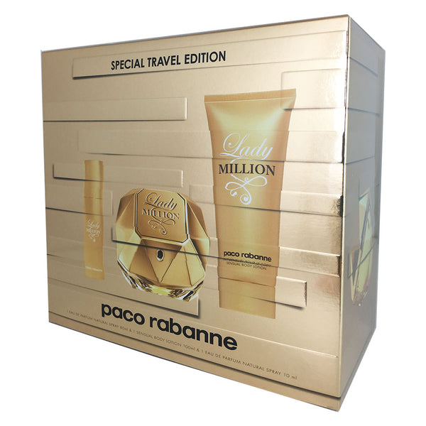 Lady Million for Women by Paco Rabanne 2.7 oz Eau de Parfum Spray 3 PC Gift Set