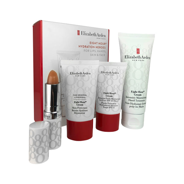 Eight Hour Hydration Heroes Set by Elizabeth Arden For Lips Hands Skin & Face