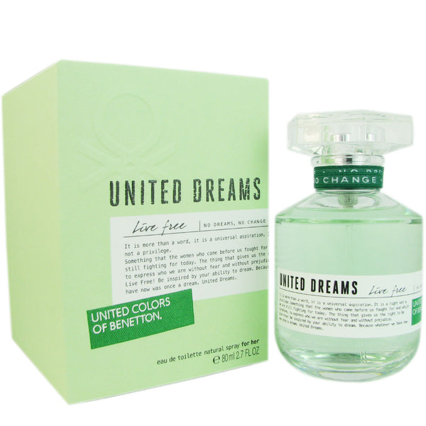 Benetton United Dreams Live Free Women 2.7 oz Eau de Toilette Spray