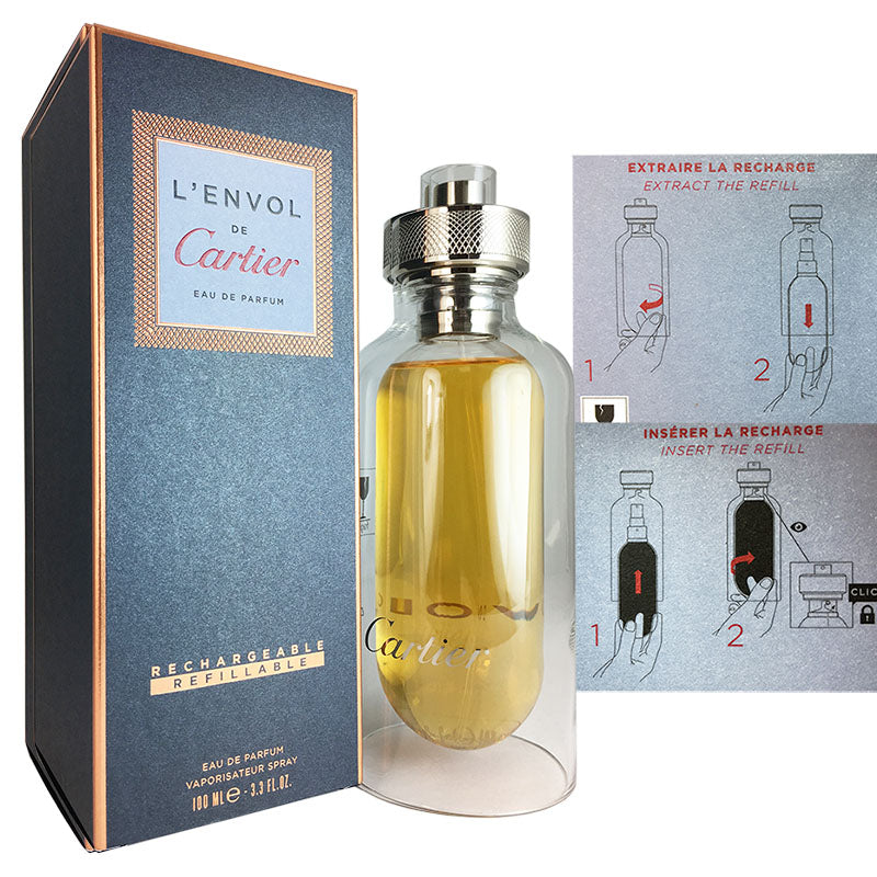 L'envol De Cartier For Men by Cartier 3.3 oz Eau de Parfum REFILLABLE Spray