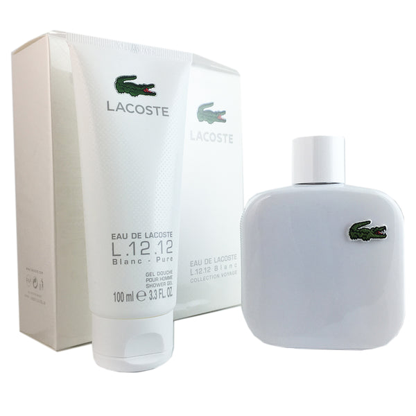 Lacoste Eau De Lacoste L.12.12 Blanc for Men By Lacoste 3.3 oz 2 Piece Gift Set