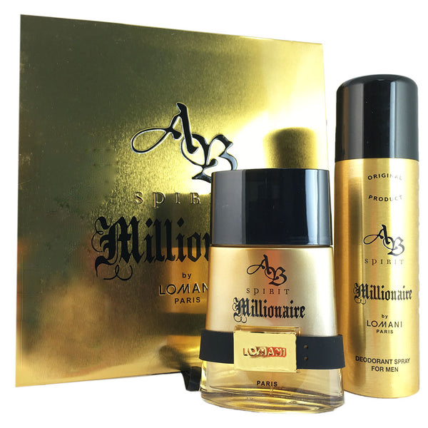 AB Spirit Millionaire for Men by Lomani 3.3 oz EDT Spray 2 Piece Set