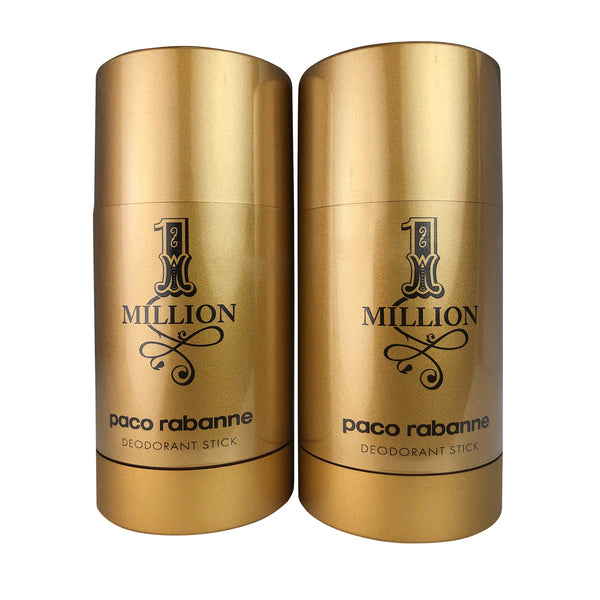 1 Million for Men Deodorant Stick by Paco Rabanne 2.3 oz each TWO